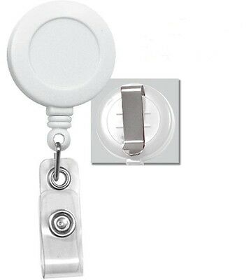 Lot of 100 PCS White Retractable Reel ID Badge Holder USA Wholesale Belt Clip