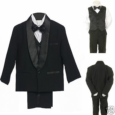 Baby Toddler Kids Teens Boys Wedding Formal Satin Lapel Tuxedos black Suits S-18