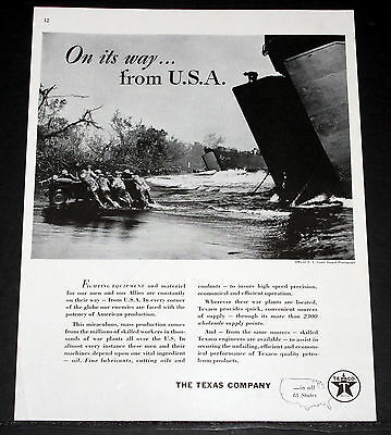 1944 Old Wwii Magazine Print Ad, Texaco, War Fighting Equipment & Material, Lst!