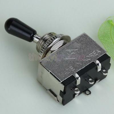 Box Style 3-way Toggle Switch for Electric Guitar Silver w/ Black Tip Quality