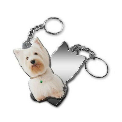 MIRRORED ACRYLIC WESTIE KEYCHAIN DOG KEYRING Made in USA KEY CHAINS CHAIN
