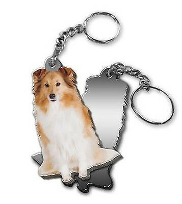 MIRRORED ACRYLIC SHELTIE KEYCHAIN DOG KEYRING Made in USA KEY CHAINS CHAIN
