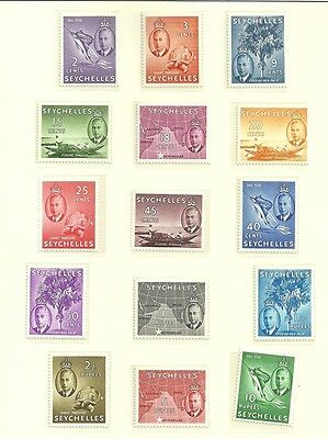 Seychelles Sg158-172-1952 Definitives Set Mnh