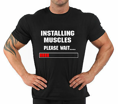 """T-Shirt Bodybuilding Fitness Palestra """"Installing muscles..."""""""