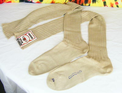 ladies vintage deadstock tan extra long over the knee high socks NOS size 8 OTK