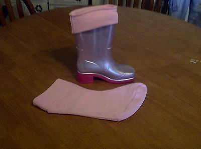 Childrens Fleece Welly Socks Liners Blue or Pink