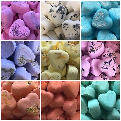 10, 30 or 50 Handmade Heart Bath Bombs. Amazing Scents. Perfect gifts, favours