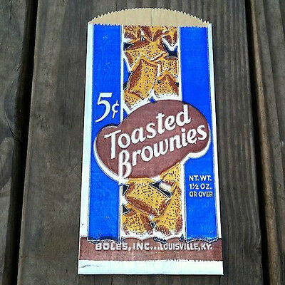 50 WHOLESALE Original 1930s TOASTED BROWNIES Cake Snack Metal Bags DEALER DEAL