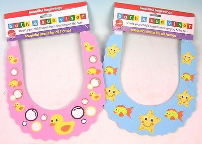 Childs Shampoo Eye / Sun Shield Make Bathtime Fun Choice of Blue or Pink NEW