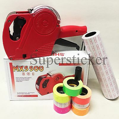 MX-5500 EOS 8 Digits Price Tag Gun +5000 White w/ Red lines sticker labels + Ink