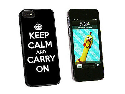Keep Calm and Carry On Black - Hard Protective Case for Apple iPhone 5 - Black