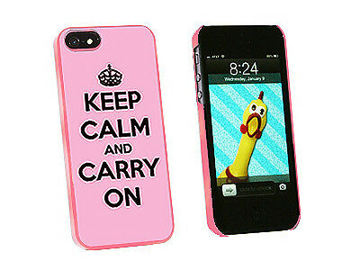 Keep Calm and Carry On Pink - Hard Protective Case for Apple iPhone 5 - Pink