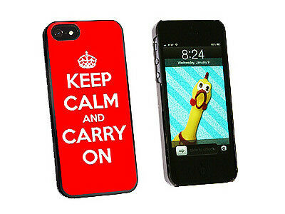 Keep Calm and Carry On Red - Hard Protective Case for Apple iPhone 5 - Black