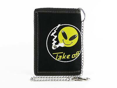 New Mens Teens Canvas Wallet Smoking ALIEN SMILEY Goths Punks Skaters