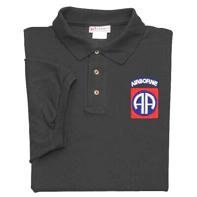 82Nd Airborne Division Crest Embroidered Black Polo Shirt