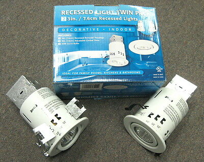 """3"""" REMODEL NON IC RECESS CAN AND ADJUSTABLE WHITE GIMBAL RING TRIM  12 PACK"""