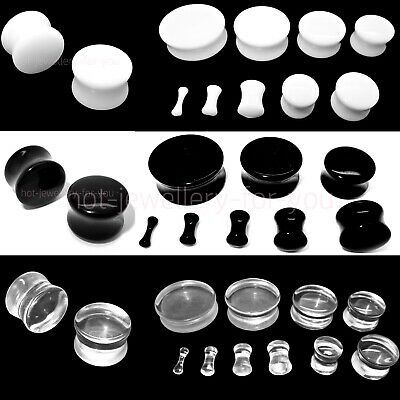 DRUM ACRYLIC FLESH TUNNEL EAR PLUG STRETCHER DOUBLE FLARED white black clear
