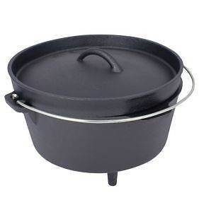 Dutch Oven 4.25ltr Wire Handle Iron Cast Cooking Enamel Casserole Pot Camping