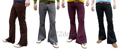Mens Flares Bell Bottoms Cords Hippy Fancy Hippie 70s Jeans Retro Dress Trousers