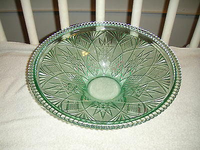 Vintage Green Cut Glass Bowl Large Bowl 5.2LBS Ribbed Edges Cut Glass Designs