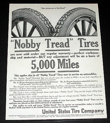"1914 Old Magazine Print Ad, United States ""nobby Tread"" Anti-Skid Car Tires!"