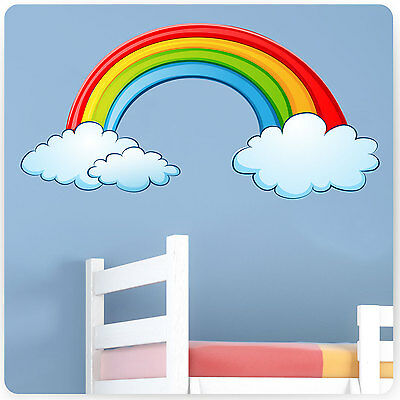 Childrens / Kids Bedroom Rainbow Wall Stickers (Girls Baby Art Flowers Sticker)