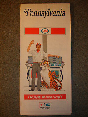 1970 Old Vtg Antique Collectible Pennsylvania Esso Extra Gas And Oil Map Tiger