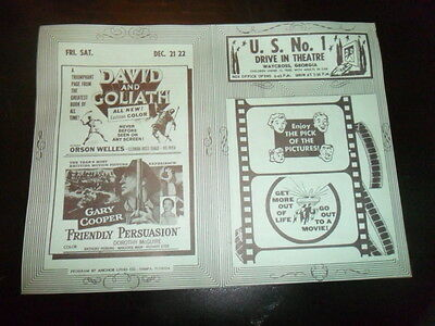Vintage 1950S Drive In Movie Theater Ad Flyer David & Goliath Orson Welles Ga!!!