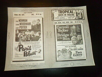 Vintage 1950S Drive In Movie Theater Ad Flyer Sidney Poitier Paul Newman Fl!!!