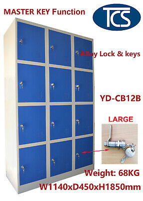 TCS 12 Door Alloy Lock Metal Steel Storage Locker Blue SCHOOL GYM OFFICE STAFF
