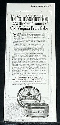 1917 Old Wwi Magazine Print Ad, Bromm, Virginia Fruit Cake For Your Soldier Boy!