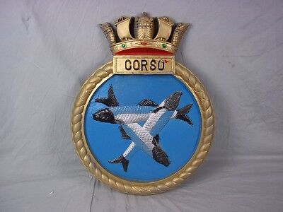 "HMS Corso Ships Badge Class C Destroyer 18""x14"" One Off Casting"