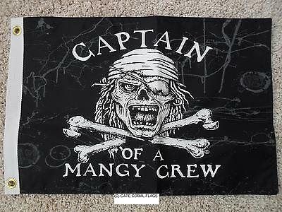 """Pirate Flag 12""""x18""""  Captain Of A Mangy Crew Double Sided Nylon Boat/motorcycle"""
