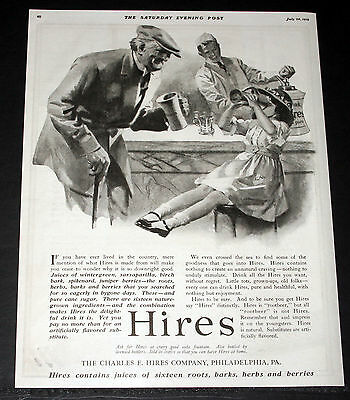 1919 Old Magazine Print Ad, Hires Root Beer, Sixteen Roots, Soda Fountain Art!
