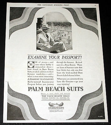 1919 Old Magazine Print Ad, Palm Beach Suits, A Passport To Comfort, Flato Art!