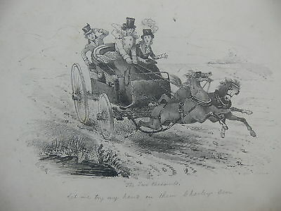 Mid-19th Century Humorous Pencil Drawing of a Speeding Carriage by W.A.H.