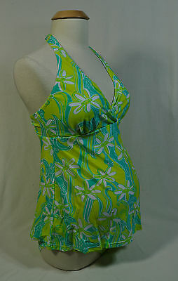 NEW 2 Piece Green Floral Maternity Bathing Swim Suit Tankini Top & Bottom -Small