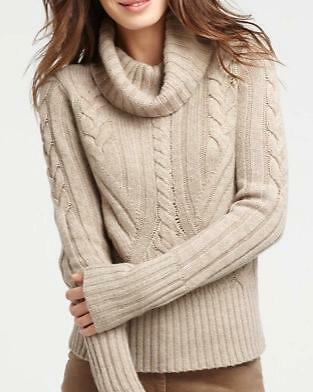 NEW ANN TAYLOR CABLE TURTLENECK L/S SWEATER Sz M  NWT $98.00 LIGHT HEATHER BROWN