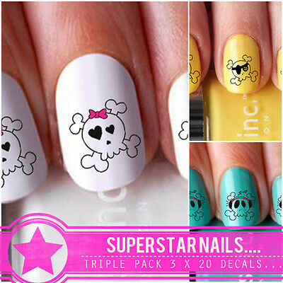Girl Skull Goth Emo Triple Pack 3X20 Nail Art Decals Water Wraps Pirate Bow dj