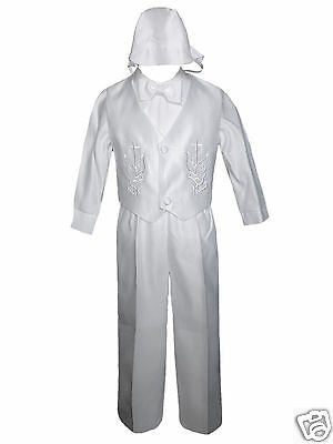 New White Infant Boy Toddler Baby Christening Baptism Outfit Set XS-4T (0M-4Yr)