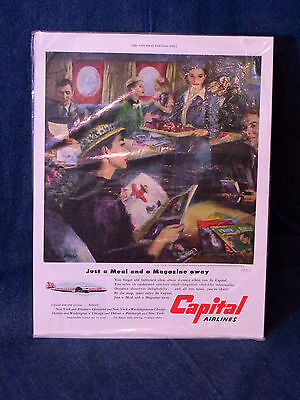 """Vintage Aviation Ad CAPITAL AIRLINES Saturday Evening Post 1951 """"CLOUD CLUB"""""""