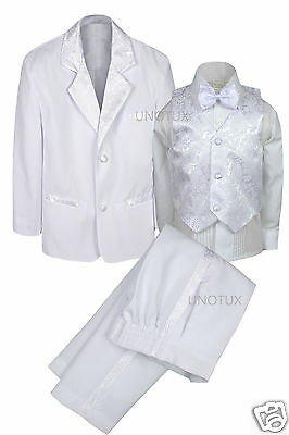 New Boys Baby Infant Teen Wedding Communion Formal Bowtie Tuxedo Suit S-20 WHITE