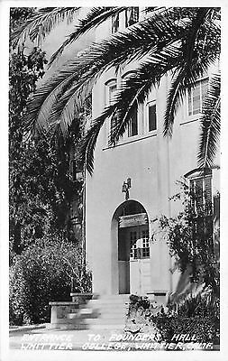 Whittier CA Entrance to Founders Hall at Whittier College 1940s Frashers RPPC