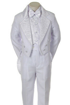 Baby BOY Toddler Wedding Christening Satin Formal TUXEDO Suit White S-XL, 2T-20