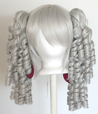 23/'/' Curly Pig Tails Base Silver Gray Cosplay Wig NEW