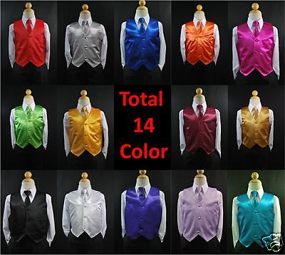 Formal Toddler Boy Teen 14 colors Solid Satin Vest Necktie Sets Tuxedo suit S-20