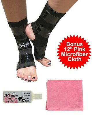 Pink  Cloth + Mighty Grip Powder + Pole Dance Tacky Ankle Protectors (3 items)