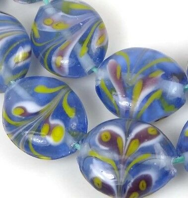 8 LAMPWORK Handmade Glass Blossoming Tulips Oval Beads 18x14mm