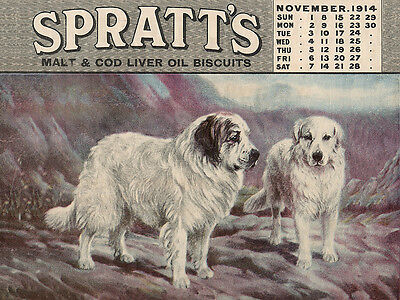PYRENEAN MOUNTAIN DOG LOVELY CALENDAR ADVERT PRINT MOUNTED READY TO FRAME