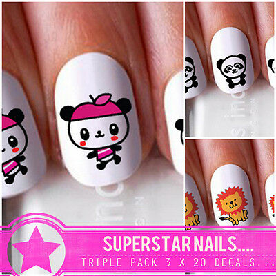 Cute Animal Triple Pack 3X20 Nail Art Decals Stickers Wraps Pink Panda Lion Baby